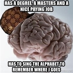 Scumbag Brain - HAS A DEGREE, A MASTERS AND A NICE PAYING JOB HAS TO SING THE ALPHABET TO REMEMBER WHERE J GOES