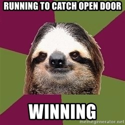 Just-Lazy-Sloth - running to catch open door winning