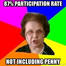 teacher - 87% participation rate not including penny