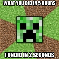 Minecraft Creeper - What you did in 5 hours I undid in 2 seconds