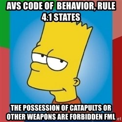 BOYBART - AVS Code of  BEHAVIOR, Rule  4.1 states The possession of CATAPULTS or other weapons are forbidden fml