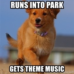 Ridiculously Photogenic Puppy - runs into park gets theme music
