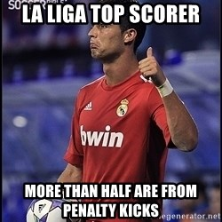 cristiano ronaldo - LA LIGA TOP SCORER MORE THAN HALF ARE FROM PENALTY KICKS