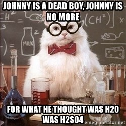 Chemistry Cat - johnny is a dead boy, johnny is no more for what he thought was h20 was h2so4