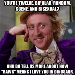 "Willy Wonka - YoU'Re twelve, bipolar, random, scene, and bisexual? Ohh do tell us more about how ""RAwr"" means I love you in dinosaur."