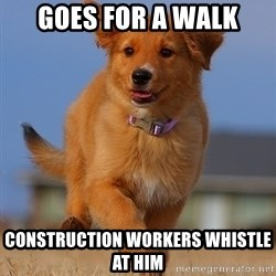 Ridiculously Photogenic Puppy - goes for a walk construction workers whistle at him
