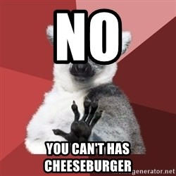 Chill Out Lemur - No you can't has cheeseburger