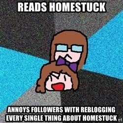 Insanity Fangirls - reads homestuck annoys followers with reblogging every single thing about homestuck