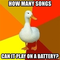 Technologically Impaired Duck - How many songs Can it play on a battery?