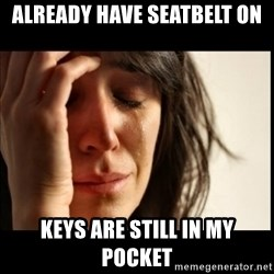 First World Problems - already have seatbelt on keys are still in my pocket