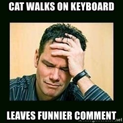 Disappointed Doug  - Cat walks on keyboard Leaves funnier comment