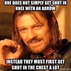 One Does Not Simply - one does not simply get shot in knee with an arrow instead they must first get shot in the chest a lot