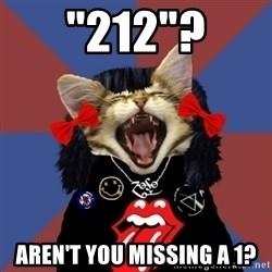 "Rock fangirl kitty - ""212""? Aren't you missing a 1?"