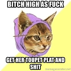 Hipster Kitty - bitch high as fuck get her toupet plat and shit