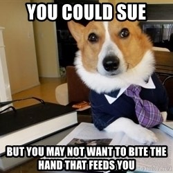 Dog Lawyer - You could sue But you may not want to bite the hand that feeds you