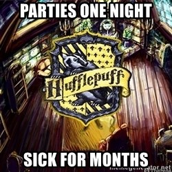 Typical Hufflepuff - parties one night sick for months