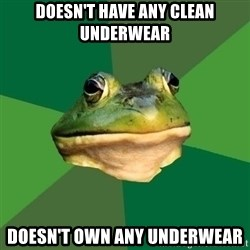 Foul Bachelor Frog - Doesn't have any clean underwear Doesn't own any underwear