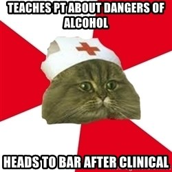 Nursing Student Cat - Teaches Pt about dangers of alcohol heads to bar after clinical