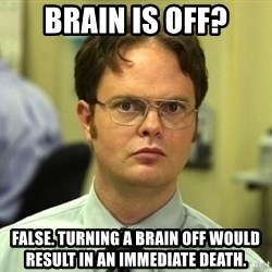 Dwight Schrute - Brain is off? False. Turning a brain off would result in an immediate death.