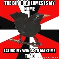 Socionic Bird - The bird of hermes is my name eating my wings to make me tame