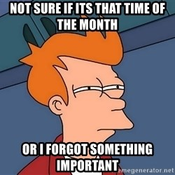 Futurama Fry - not sure if its THAT TIME OF THE MONTH   or i forgot something important