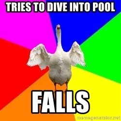 Flatulent Goose Meme - tries to dive into pool falls
