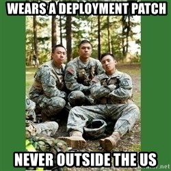 ROTC Cadet -  wears a deployment patch never outside the us