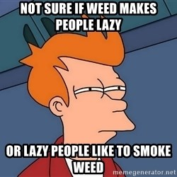 Futurama Fry - Not sure if weed makes people lazy or lazy people like to smoke weed