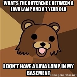 Pedobear - what's the difference between a lava lamp and a 7 year old i don't have a lava lamp in my basement