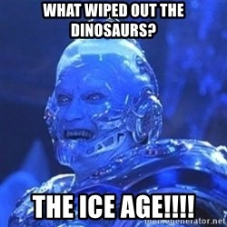 Mr. Freeze - What wiped out the dinosaurs? the ice age!!!!
