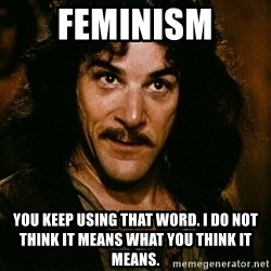 Inigo Montoya - Feminism You keep using that word. I do not think it means what you think it means.
