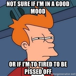 Futurama Fry - not sure if i'm in a good mood or if i'm to tired to be pissed off