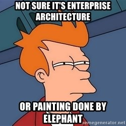 Futurama Fry - Not Sure It's Enterprise Architecture Or Painting done by elephant