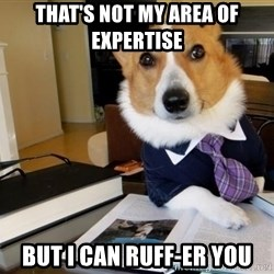 Dog Lawyer - that's not my area of expertise but i can ruff-er you