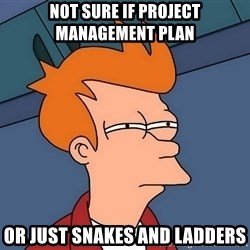Futurama Fry - not sure if project management pLAN or just snakes and ladders