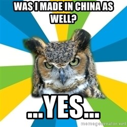 Old Navy Owl - was i made in china as well? ...yes...