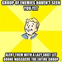 Fallout 3 - Group of enemies haven't seen you yet alert them with a lazy shot, let boone massacre the entire group