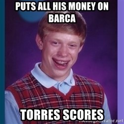 Unlucky Brian  - puts all his money on barca torres scores