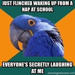 Paranoid Parrot - just flinched waking up from a nap at school everyone's secretly laughing at me