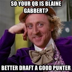Willy Wonka - So your QB is Blaine Gabbert? Better Draft a Good Punter