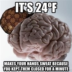 Scumbag Brain - IT'S 24ºF MAKES YOUR HANDS SWEAT BECAUSE YOU KEPT THEM CLOSED FOR A MINUTE