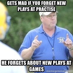 "Coach ""Dick"" Dakosty - gets mad if you forget new plays at practise he forgets about new plays at games"