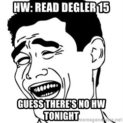Yao Ming - hw: read degler 15 guess there's no hw tonight