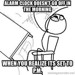 Desk Flip Rage Guy - alarm clock doesn't go off in the morning when you realize its set to p.m.