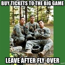 ROTC Cadet - BUy tickets to the big game leave after fly-over