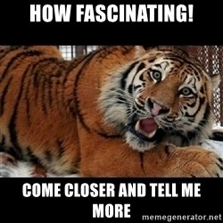 Sarcasm Tiger - How fascinating! come closer and tell me more