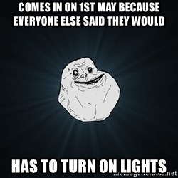 Forever Alone - comes in on 1st may because everyone else said they would has to turn on lights