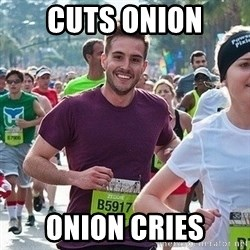 Ridiculously photogenic guy (Zeddie) - cuts onion onion cries