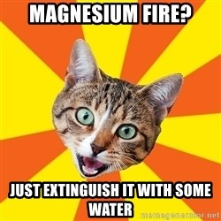 Bad Advice Cat - magnesium fire? just extinguish it with some water