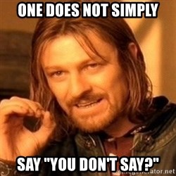 """One Does Not Simply - ONE DOES NOT SIMPLY SAY """"you Don't say?"""""""